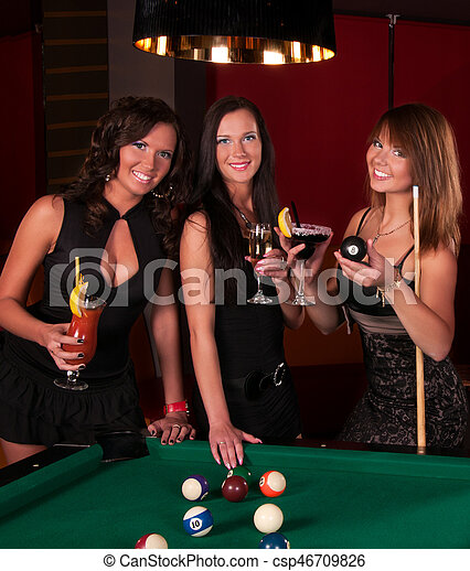 Group of happy girls drinking cocktails - csp46709826