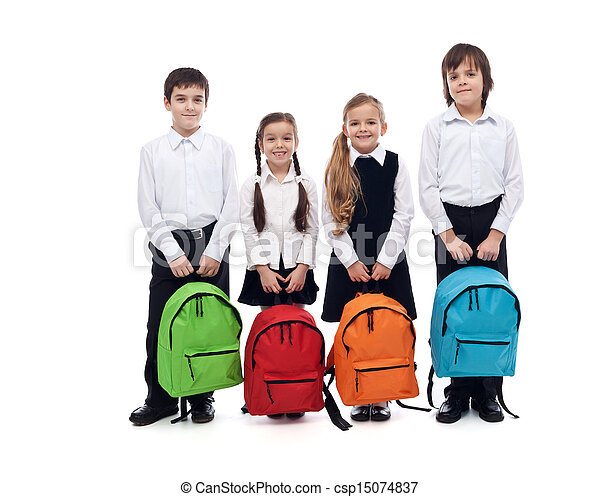 Group of happy kids with schoolbags - back to school concept - csp15074837