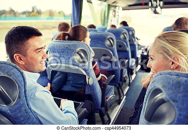 group of happy passengers in travel bus - csp44954073