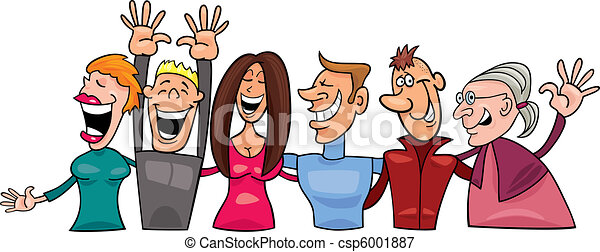 cartoon illustration of group of happy people vectors illustration