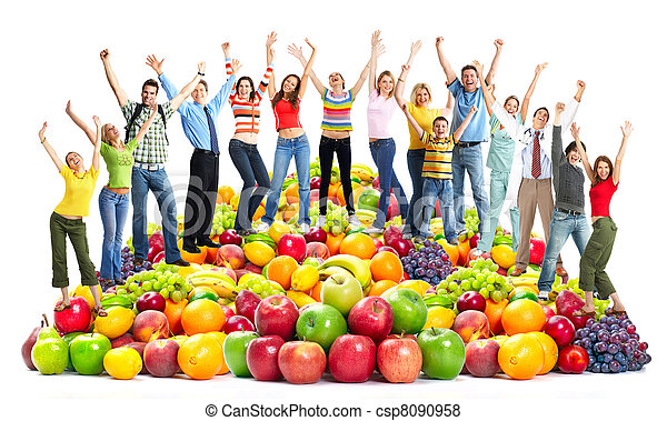 Group of happy people with fruits. - csp8090958