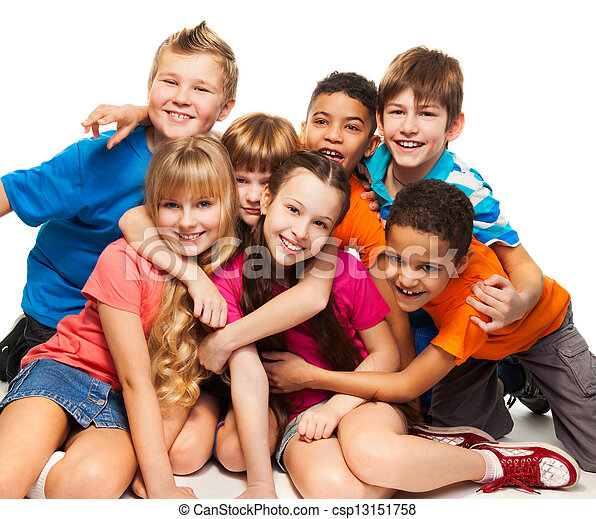 Group of happy smiling kids - csp13151758