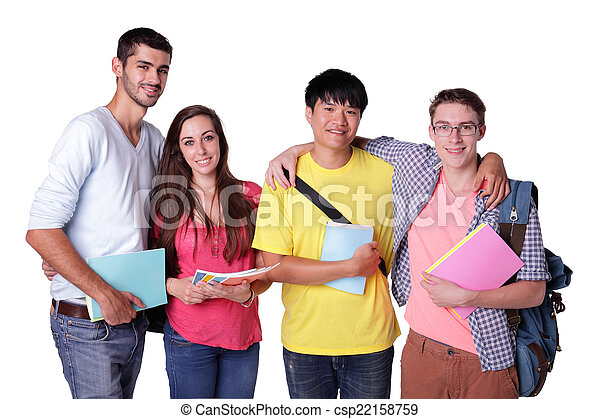 group of happy students - csp22158759