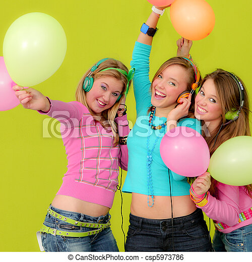 group of happy teens at party - csp5973786