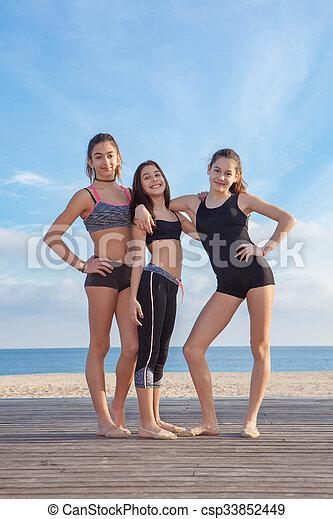 group of healthy teens girls - csp33852449