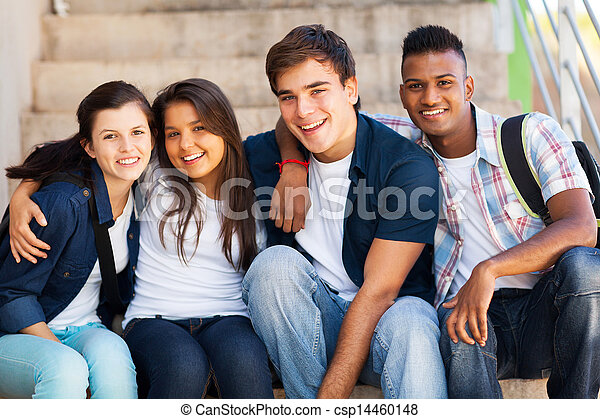 group of high school students - csp14460148