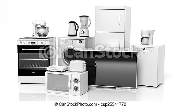 Group of home appliances isolated on white background - csp25541772