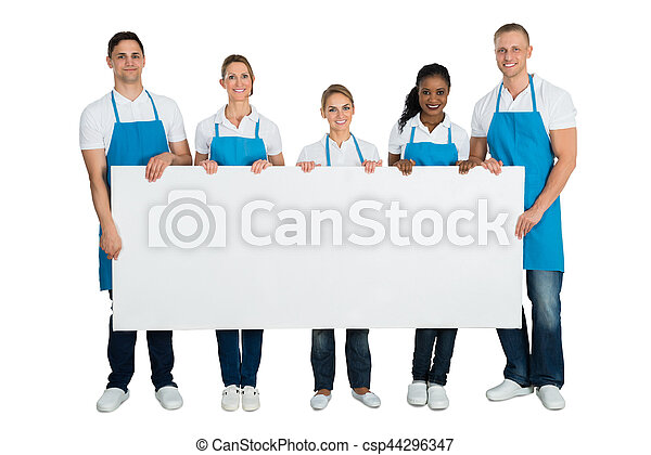 Group Of Janitors Holding Blank Banner - csp44296347