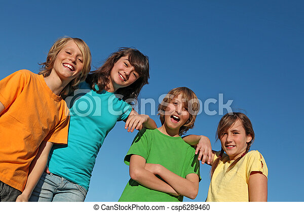 group of kids at summer school or camp - csp6289460