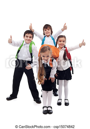 Group of kids happy going back to school - csp15074842