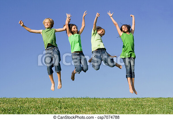 group of kids jumping after winning - csp7074788