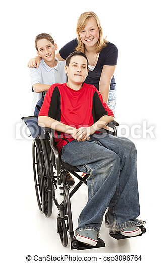 Group of Kids - One Disabled - csp3096764