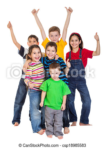 Group of kids with thumbs up sign - csp18985583