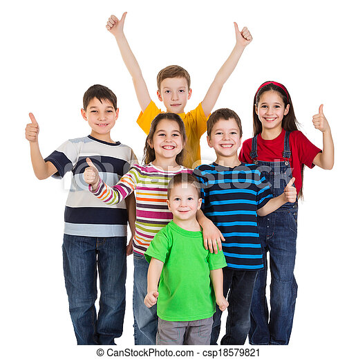 Group of kids with thumbs up sign - csp18579821