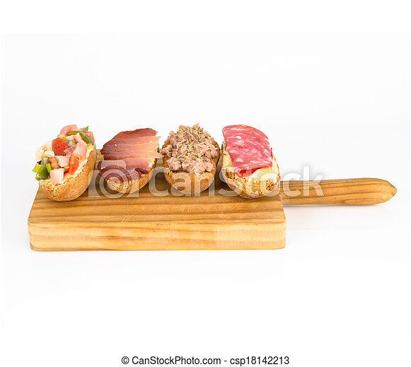 Group of little sandwiches isolated over white background - csp18142213