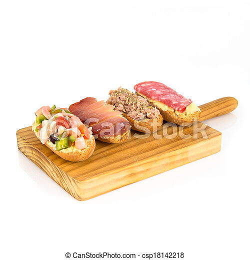 Group of little sandwiches isolated over white background - csp18142218