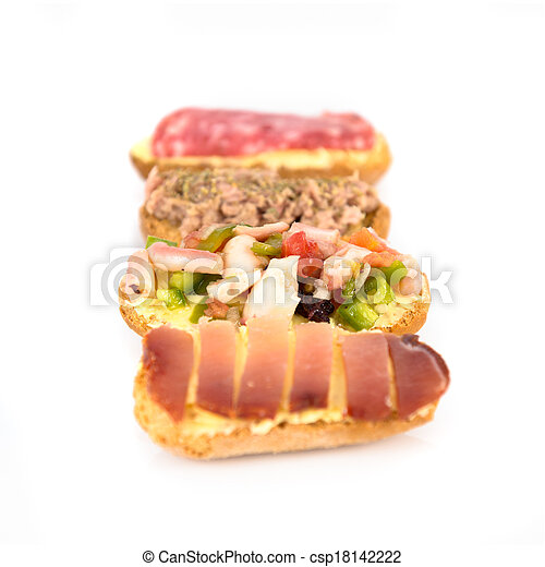 Group of little sandwiches isolated over white background - csp18142222
