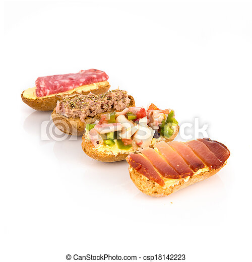 Group of little sandwiches isolated over white background - csp18142223
