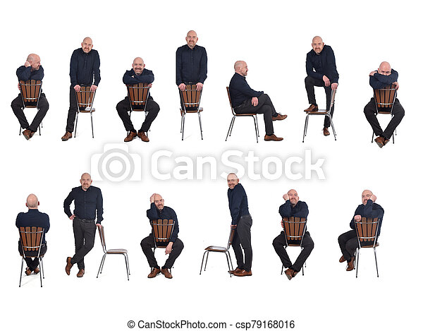 group of man playing with a chair in white background - csp79168016