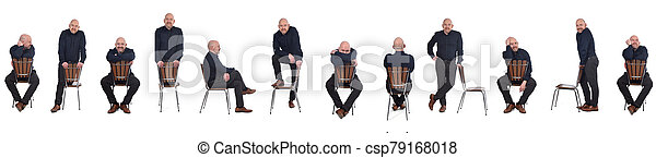 group of man playing with a chair in white background - csp79168018