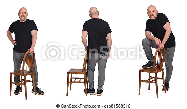 group of man standing with a chair in white background - csp81588316