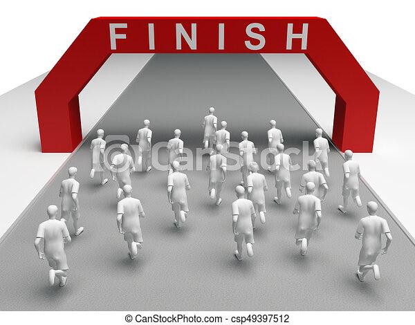 group of marathon runners run to the finish - csp49397512