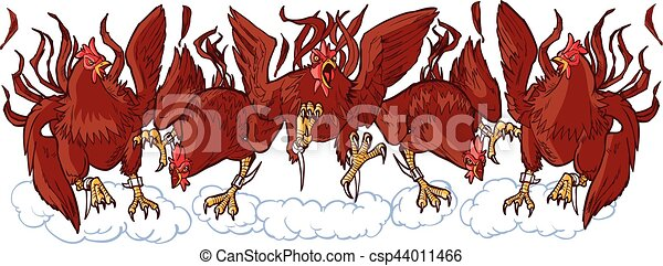 Group of Mean Rooster Cartoon Mascots Charging Forward - csp44011466