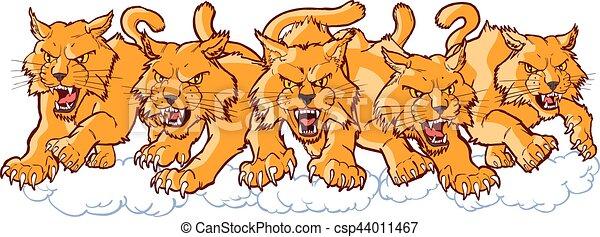 Group of Mean Wildcat Cartoon Mascots Charging Forward - csp44011467