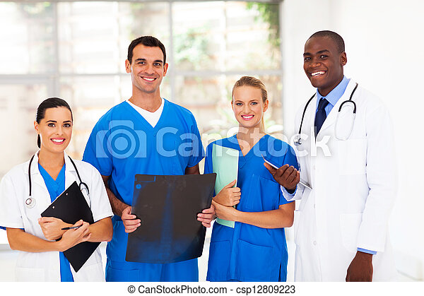 group of medical workers in hospital - csp12809223