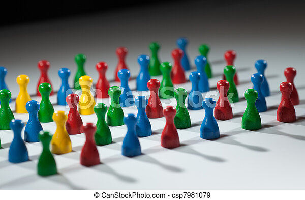 group of multi-colored people to represent social network, diversity, multi cultural society, team work togetherness - csp7981079