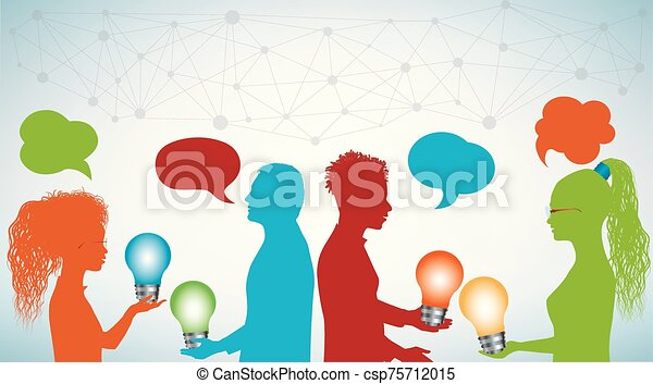 Group of multi-ethnic people sharing ideas with a light bulb in their hands. Communication and discussion community social network. Forum meeting group of friends or teamwork. Speech bubble - csp75712015