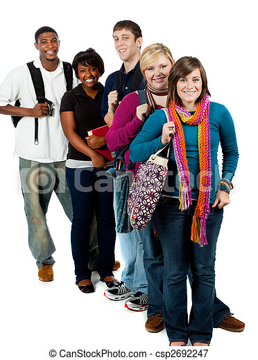 Group of multi-racial college students - csp2692247