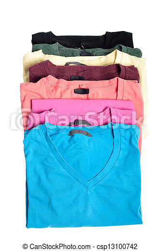 Group of multicolored t-shirts - csp13100742