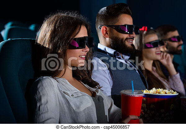 Group of multicultural friends at the movie theatre - csp45006857