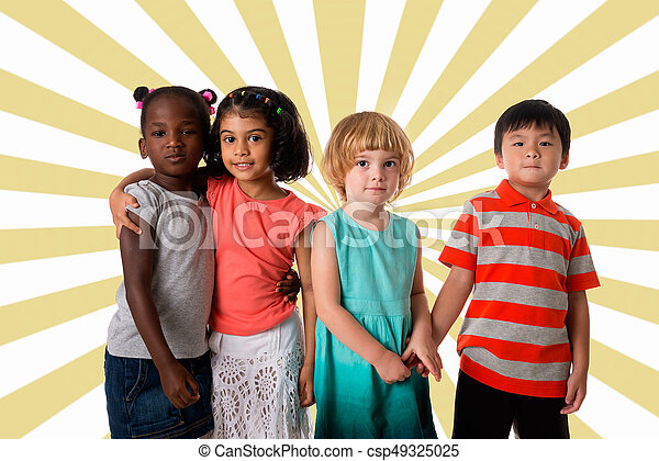 Group of multiracial kids portrait. - csp49325025