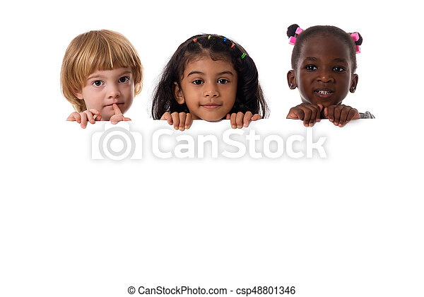 Group of multiracial kids portrait with white board.Isolated - csp48801346