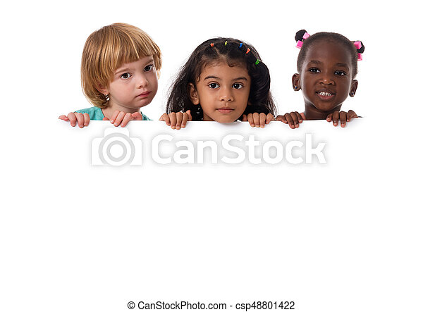 Group of multiracial kids portrait with white board.Isolated - csp48801422