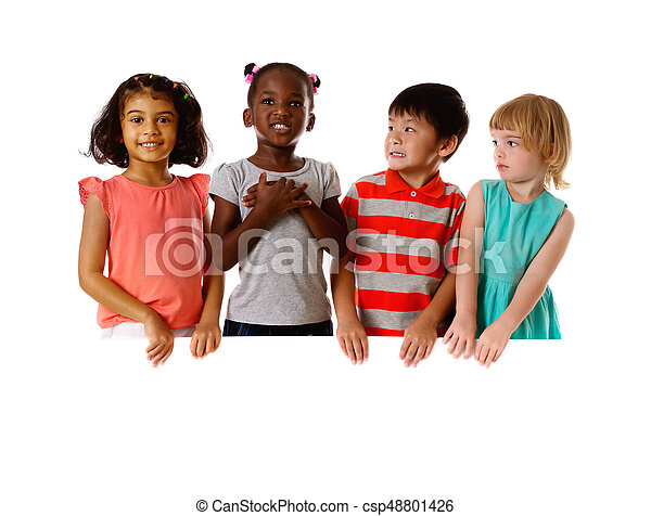 Group of multiracial kids portrait with white board.Isolated - csp48801426