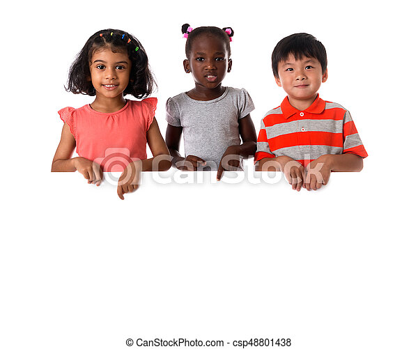 Group of multiracial kids portrait with white board.Isolated - csp48801438