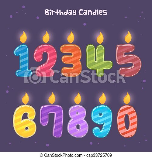 Group Of Numbers Birthday Candles