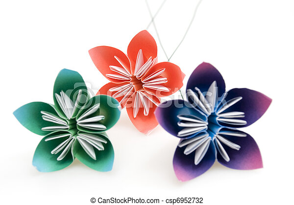 Group of Origami Flowers - csp6952732