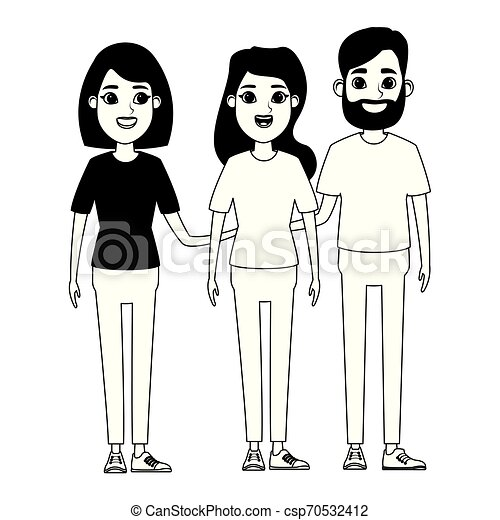 Group Of People Avatar Cartoon Character In Black And White Group Of Avatar Person Avatar Man With Beard And Woman With