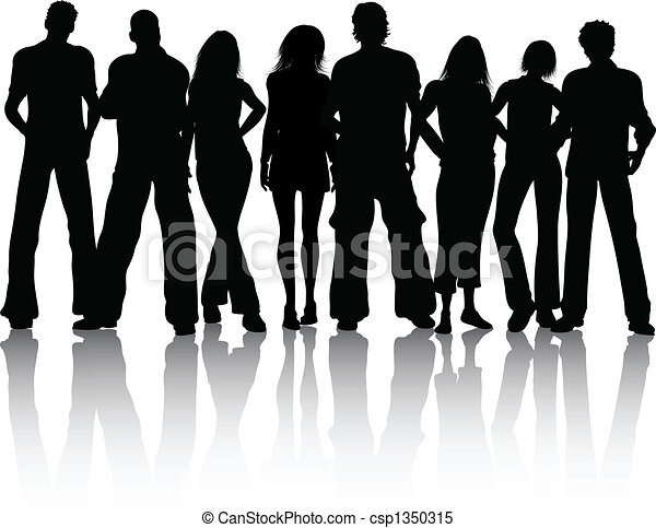Group of people. Silhouette of a group of people.