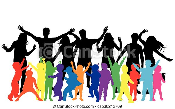 group of people crowd of family silhouettes clip art vector rh canstockphoto co uk