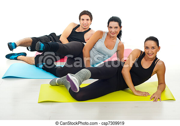 Group of people doing exercises - csp7309919