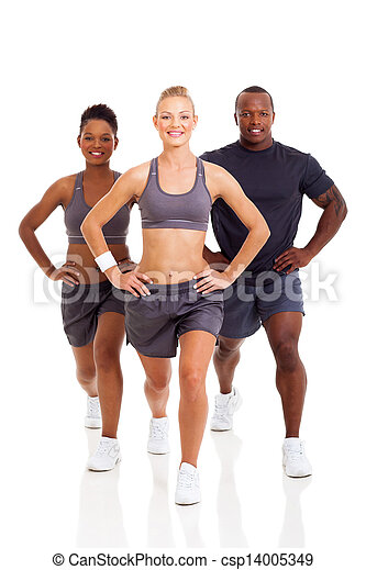 group of people exercising on white background - csp14005349
