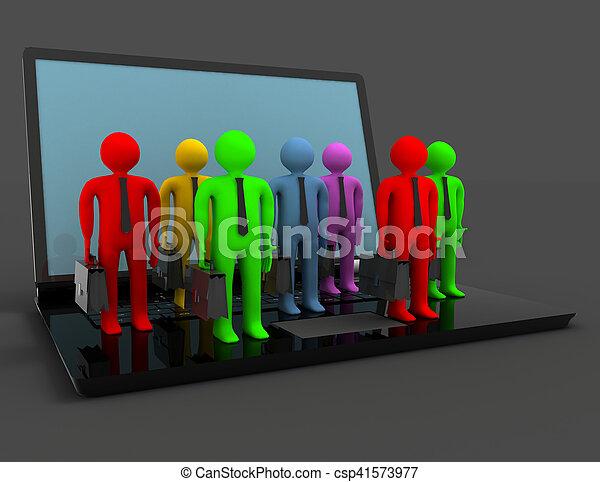 group of people figures on laptop, 3d render - csp41573977