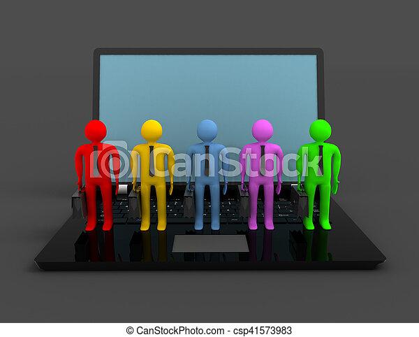 group of people figures on laptop, 3d render - csp41573983