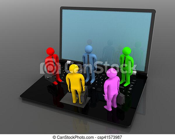 group of people figures on laptop, 3d render - csp41573987