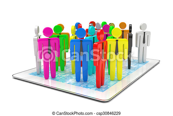 group of people figures on tablet PC, 3d render - csp30846229